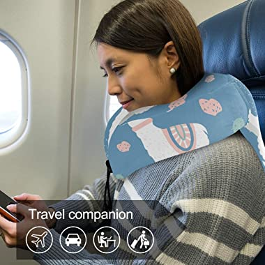 senya Comfort Travel Pillow Cute Llama Blue Cactus Memory Foam Neck Pillow with Comfortable & Breathable Cover, Relax and