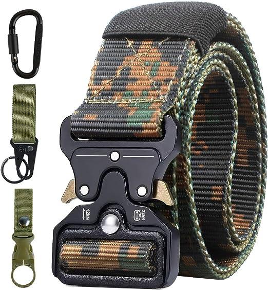AivaToba Cinturón Táctico para Hombres, Cinturones de Lona de Nailon de Estilo Militar con Hebilla de Metal de Liberación Rápida para el Ejército de Entrenamiento de Caza