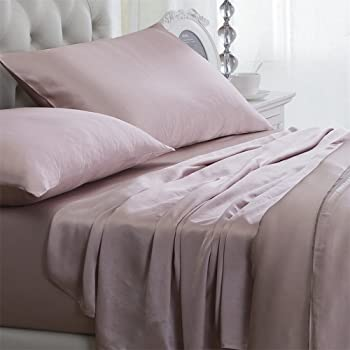Orose 4Pcs 100% Charmeuse Mulberry Silk Bed Sheet Set Seamless Deep Pocket (Twin, Pink)