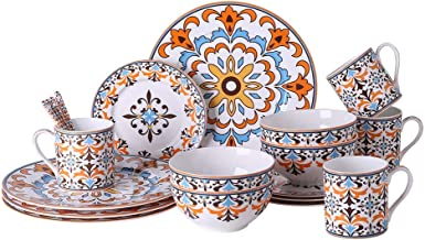 Chin-Chin JL 20-Piece Bone China Round Dinnerware sets, Plates, Bowls, Mugs, Spoons, Service for 4, Bohemian Vibrant Orang...