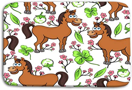Kitchen Floor Bath Entrance Door Mats Rug Horse Cartoon Drawing Funny Cute Painted Brown Pink Flowers Clover Leaves WHI White Refreshing Non Slip Bathroom Mats