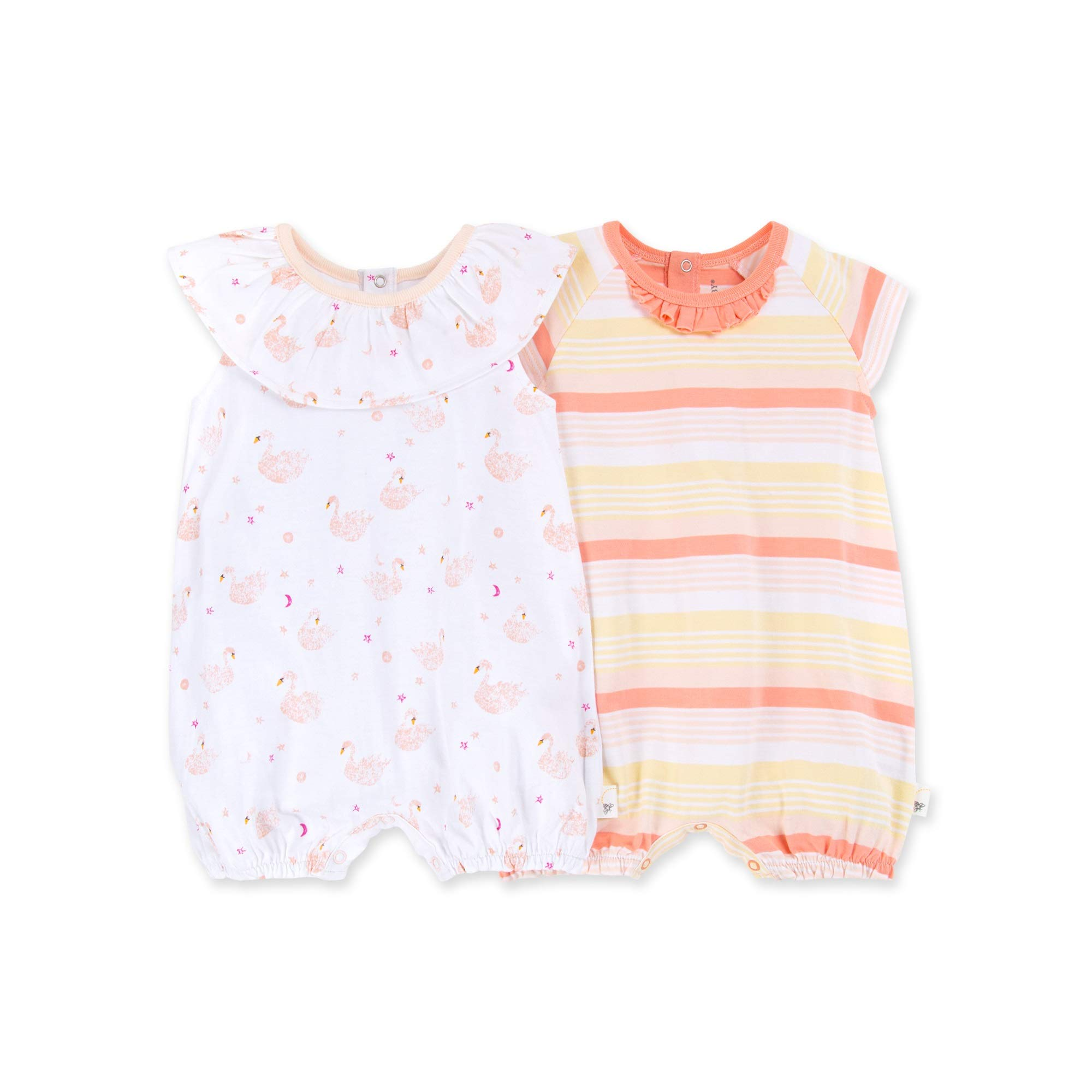 Set of 2 Bubbles Burts Bees Baby Baby Girls Rompers 100/% Organic Cotton One Piece Jumpsuits