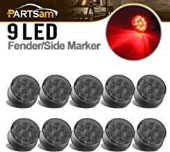 Partsam 10Pcs 2 Inch Smoked Round Trailer Red Led Side Marker Lights Identification 9 Diodes w Reflectors Black Lens Trailer Truck RV 2
