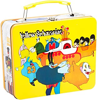 Vandor 73070 Beatles Yellow Submarine Vintage Shaped Tin Metal Lunchbox Tote with Handle, Large
