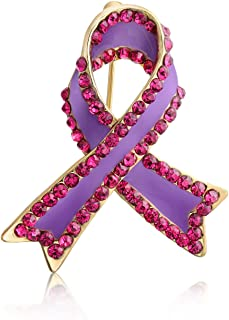 Bling Jewelry Supporto Viola Rosa Bianco per Cause consapevolezza Nastri sopravvissuti Spilla di Cristallo Spilla per Donn...