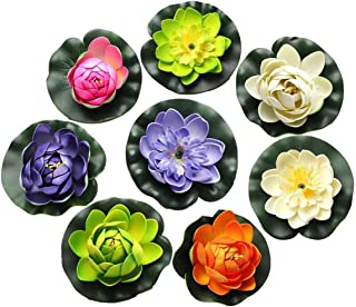 FQTANJU Foam Water Lily Flower Decor Artificial Floating Pond Plants Multicolor (8 Pieces/1.5