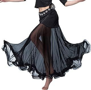 Z&X Women's Ballroom Dance Skirt Glitter Tulle Fishtail Long Swing Flamenco Belly Dance Skirt with Shorts