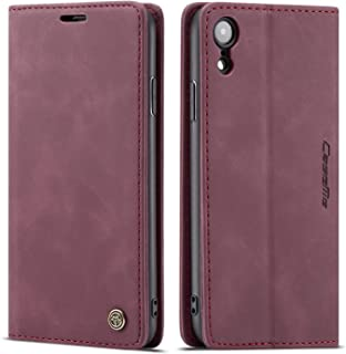 Cover Case for iPhone XR Apple,Red Holder Flip Shell Vintage Matte Leather Cash Slot 6.1inch Retro 2Card Slot (ID Card,Credit Card) Full Protection Accurate Cutouts Gift Girls Boys