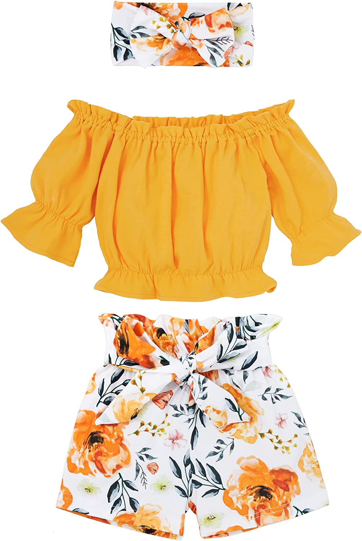 Toddler Baby Girl Clothes Yellow Half Sleeve Top + Floral Shorts + Headband 3PCS Clothing Sets