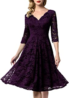 Women's Vintage Floral Lace Bridesmaid Dress 3/4 Sleeve Wedding Party Midi Dress