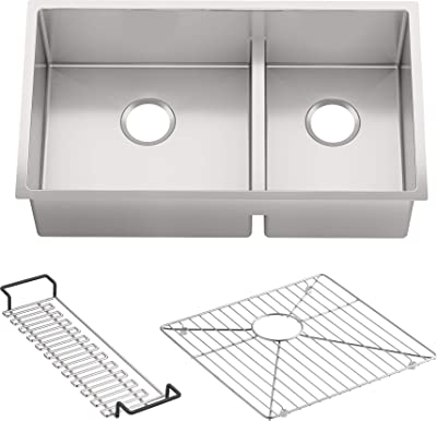 KOHLER K-5284-NA Strive Undermount Large/Medium Double Bowl Kitchen Sink, 32-Inch x 18-5/16-Inch, Stainless Steel