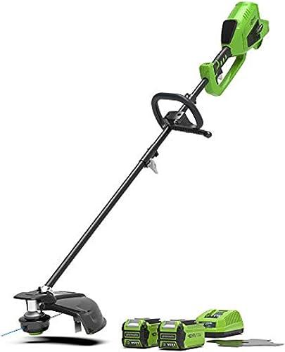 Greenworks Tools tondeuse à gazon et faux sans fil 2en1 GD40BCK2X (Li-Ion 40V 40cm/25cm largeur de coupe 2mm fil/cout...