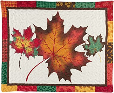 Patchwork Pillow Sham with Colorful Fall Leaves on White Background, Autumn Colors