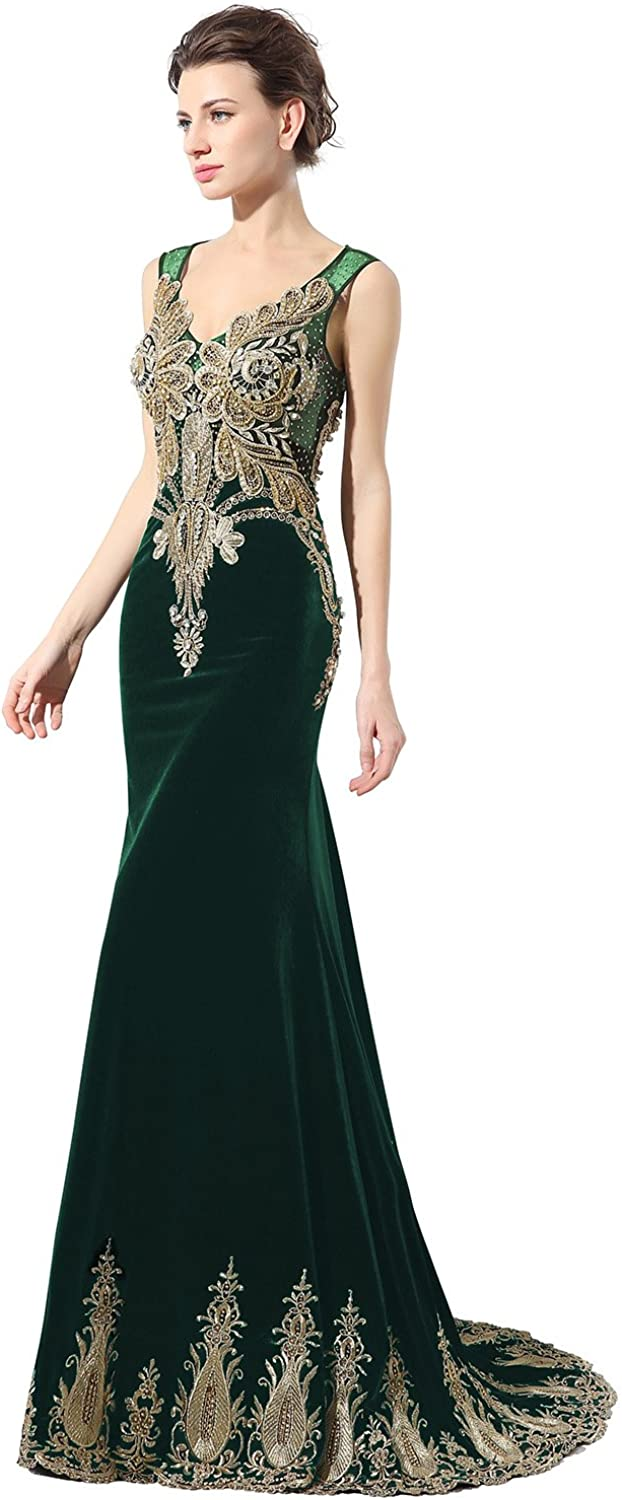 Sarahbridal Women's gold Embroidery Velvet Prom Dress Long Mermaid Evening Pageant Gown