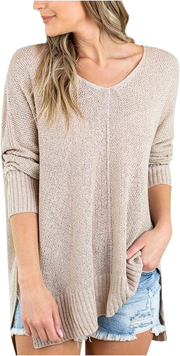 Winter Jackets for Women, Women's Fashion Long Sleeve V Neck Knitted Sweater Loose Pullover Jumper Tops