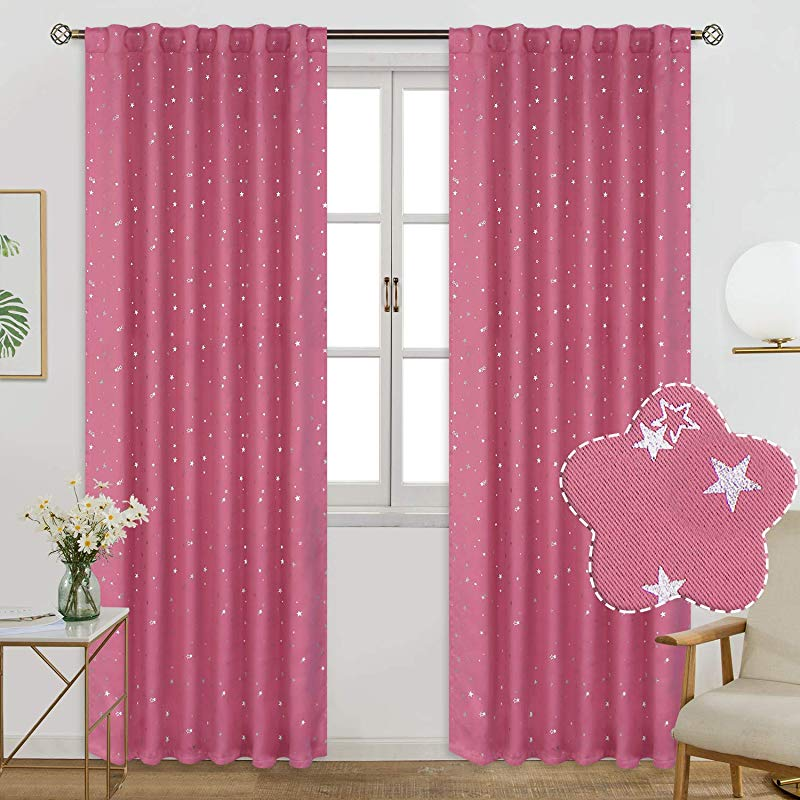 BGment Rod Pocket And Back Tab Blackout Curtains For Kids Bedroom Sparkly Star Printed Thermal Insulated Room Darkening Curtain For Nursery 52 X 63 Inch 2 Panels Pink