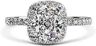 Venetia Top Grade 2.0 Carats Supreme Rectangular Emerald Cushion Cut NSCD Simulated Diamond Ring 925 Silver Cubic Zirconia cz