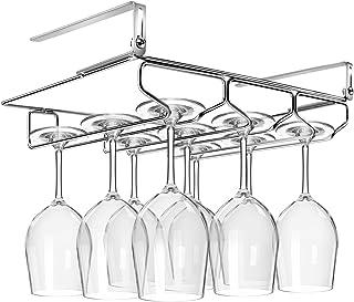 HULISEN Casa Cocina Ajustable Vino Cristal Accesorio de y Sin Instalación, para Copas de Champán Cristal Accesorio de Soporte con Tornillos Hold 9 Glass