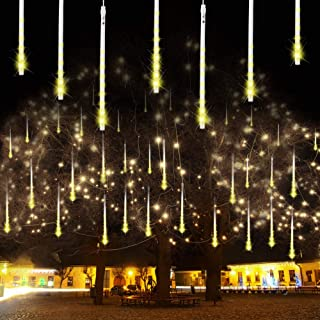 Bynhieo Meteor Shower Lights, Led Icicle Lights,Falling Raindrop Christmas Lights in Outdoor,Waterproof Cascading Lights for Holiday Christmas Party Wedding Decoration (Warm White)