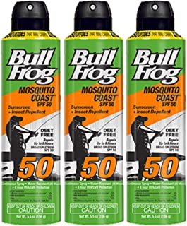 Bull Frog Mosquito Coast Spray Sunscreen with Insect Repellent, 6 Ounce, (Pack of 3)