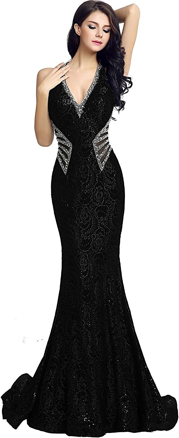 Belle House Lace Prom Dresses 2017 Deep V Neck Sexy for Women and Juniors Mermaid Long Evening Ball Gown