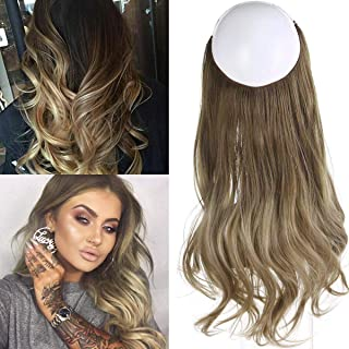 Ombre Hair Extension Bayalage Brown Ash Blonde Long Natural Wavy Halo Flip in Natural Synthetic Hairpiece Hidden Wire Crown Headband Hair Pieces For Women Heat Resistant Fiber 18