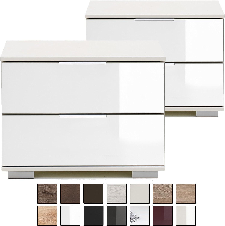 E-combuy Mbel  2er Set Nachtkommode NIGO, 2 Schubladen, Hhe 40 cm, Nachtkonsole für Futonbetten, Glas-Front wei, wei