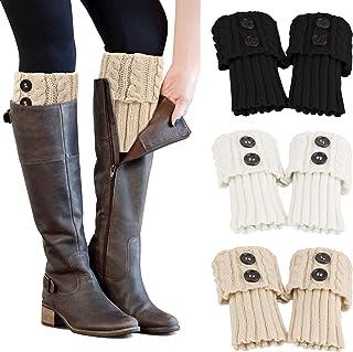 PHOGARY, 3 Pares Calentadores Piernas Mujer Calcetines de Punto para Invierno, Pata arranque de los puños Calientapiernas Cortas Ganchillo Cubierta para Botas y Botines
