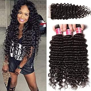 Nadula Brazilian Deep Wave 3 Bundles With Closure 8A 100% Unprocessed Brazilian Remy Virgin Human Hair Bundles Weave Natural Color (12 with 14+16+18)