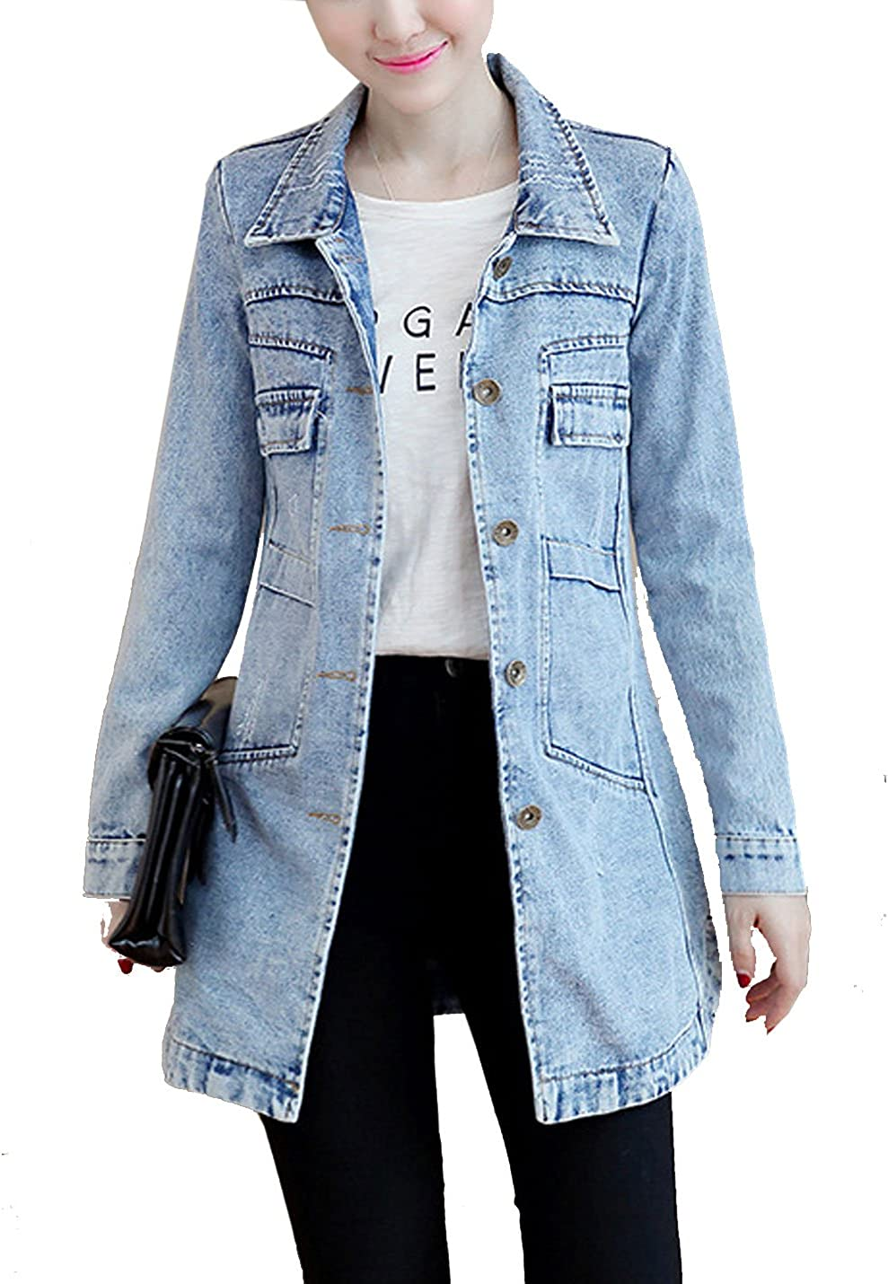 Yeokou Women's Casual Slim Fit Mid Button shop Jean Arlington Mall Down J Long Denim