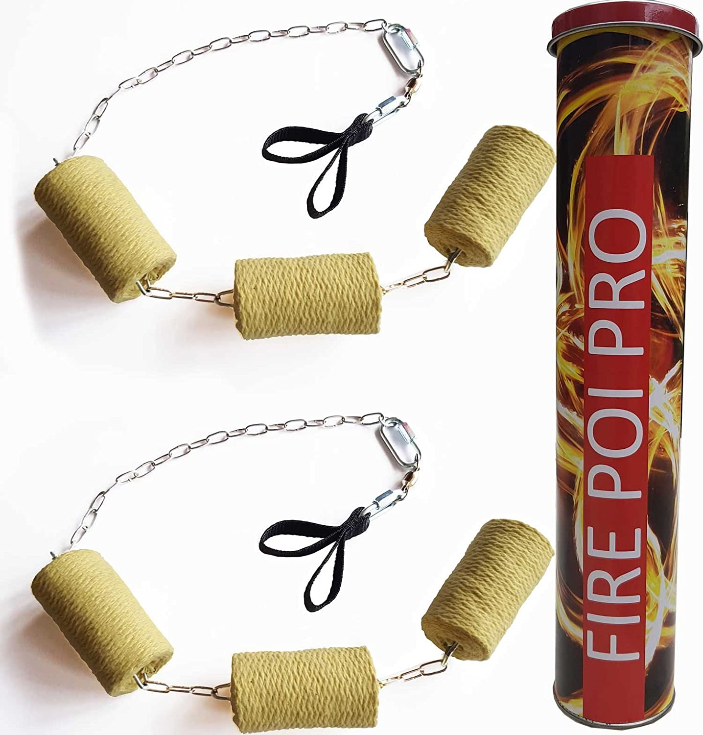 PassePasse Pair of Triple Pro Fire Poi + Extinguisher, Chains with 6x7cmx75cm Kevlar fire wick, Double finger loops, Swivel Bearings & Delta links