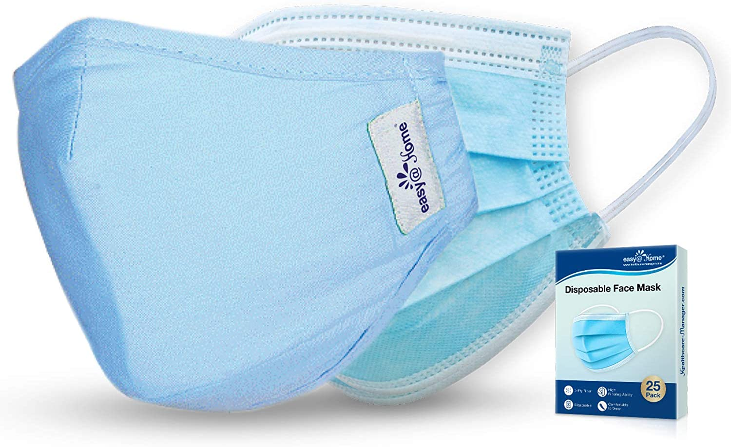 Easy@Home Washable and Reusable Cloth Mask with Filters and 25 Pack Face Shield