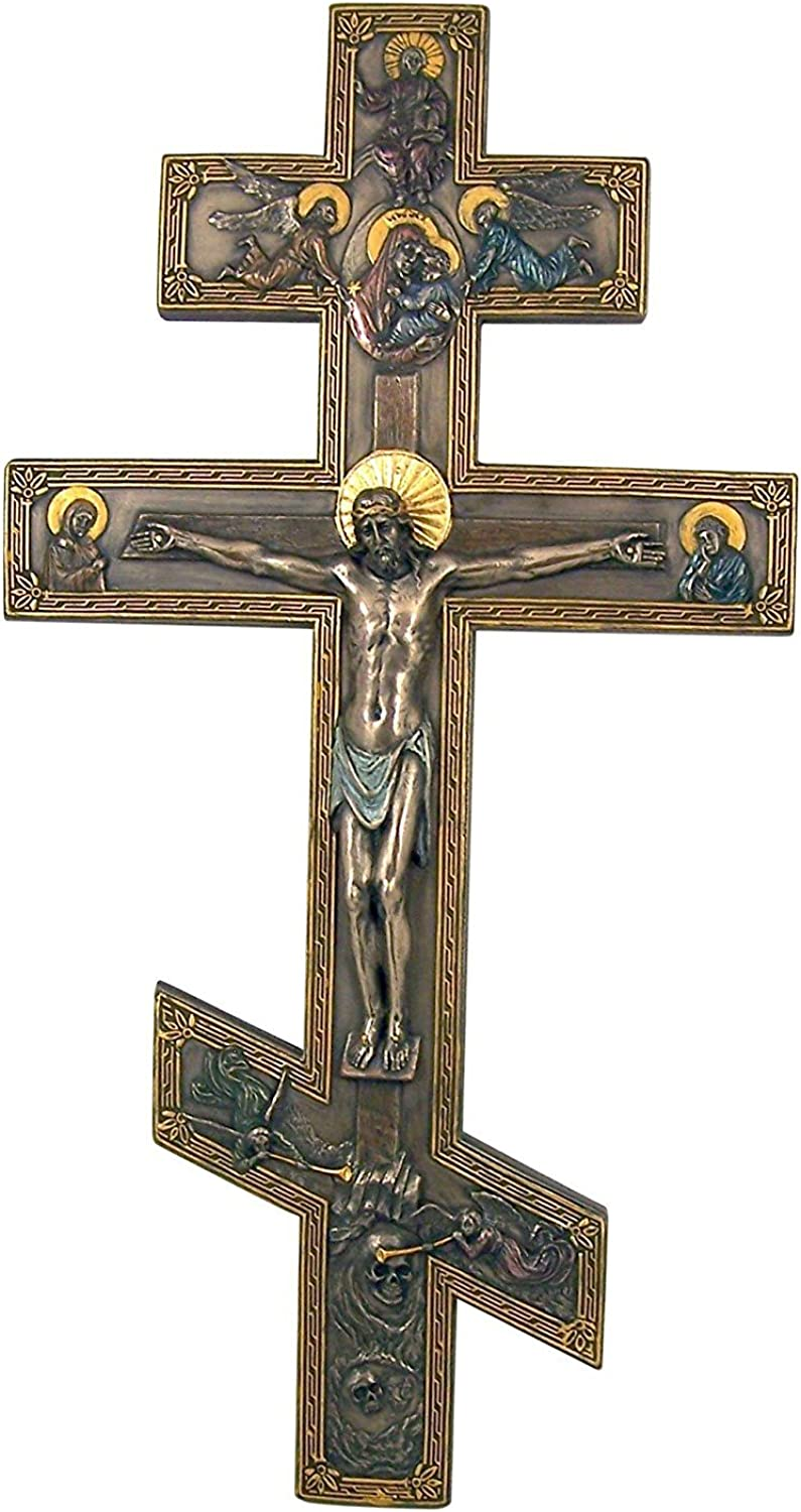 17 Inch Bronzed Marble Resin Orthodox Cross Crucifix Wall Plaque with Angels
