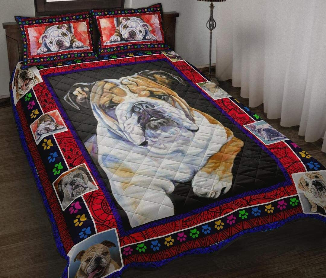 Personalized Tulsa Mall Max 86% OFF Bulldog Beautiful Quilt Set Birthd to Bed