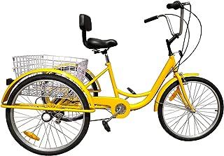 Ridgeyard 6 Speed 24 Inch 3 Wheel Adult Tricycle Bike Cycling Pedal Cruiser Bicycles Folding Basket
