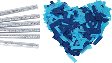 Gender Reveal Confetti Wands Blue 6Pack Biodegradable Tissue Paper Confetti Flick Flutter Sticks for Boy Baby Shower Party Decorations Supplies - Blue 14inch