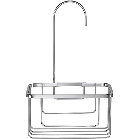 Croydex QM260441 Chrome Shower Riser Rail Hook Over Caddy Basket, 5 Year Rust Free Guarantee