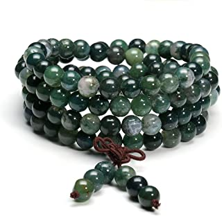 6mm 8mm Natural Moss Agate Stone Healing Gemstone 108 Mala Prayer Beads Stretch Bracelet Necklace