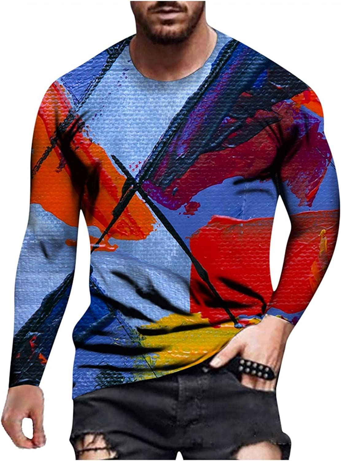 Aayomet T-Shirts for Men Fashion Printed Long Sleeve Crewneck Sweatshirts Casual Workout Sport Tee Shirts Blouses Tops