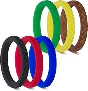 LearnFitFun Silicone Wedding Rings for Women. Thin Stackable Silicon Rubber Engagement Band. by WNDRNG