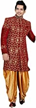 Heavy Work Exclusive Indian Sherwani Set For Men Velvet Red Color with Dhoti/Pant