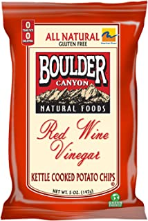 Boulder Canyon Red Wine Vinegar Kettle Chips, 5-Ounce Bags (Pack of 12)