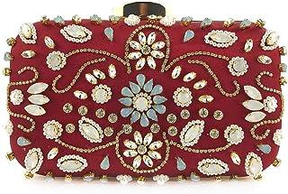 GLJJQMY Evening Bag Shoulder Messenger Bag Handmade Beaded Bag Ladies Dress Party Evening Bag Shoulder Messenger Bag Evening Bags (Color : Wine red, Size : 20x13x6cm)