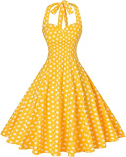 Women's Rockabilly 50s Vintage Polka Dots Halter Cocktail Swing Dress