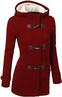 comprar comparacion GHYUGR Abrigos con Horn Botones Mujer Invierno Elegantes Slim Chaqueta con Capucha Lana Capa Jacket Sudadera Pullover Outw...
