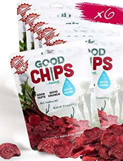 GOOD CHIPS by Paramo Snacks Baked Beet Chips | Pack of 6 x 1 oz Bag | Baked, Crunchy, Oil Free, Vegan Friendly|