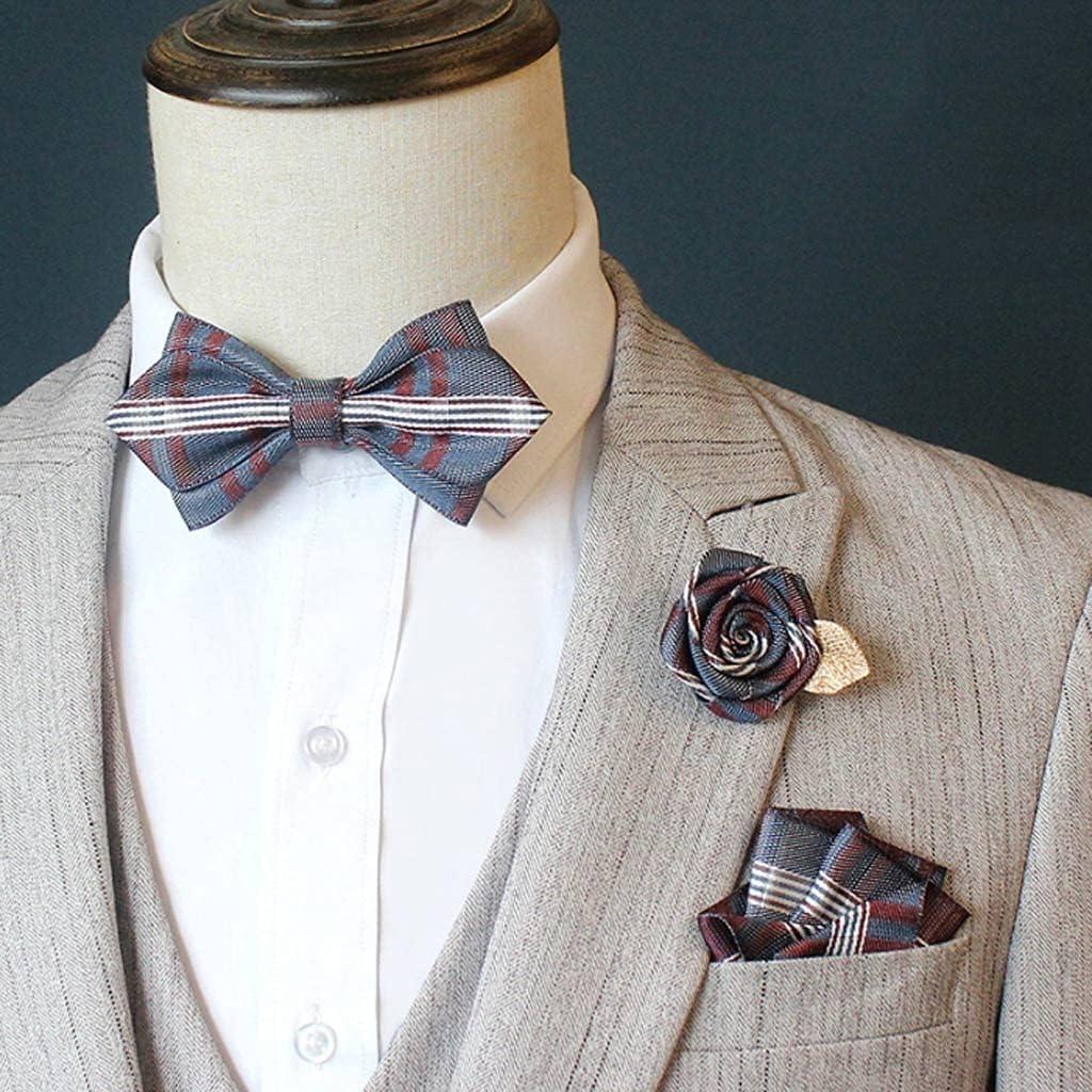 ZZABC NSLDXZPJ Men's Bow tie Suit Suit Pocket Square Rose Flower Brooch Wedding Groom Groomsmen Bow tie Korean Collar Flower (Color : D)
