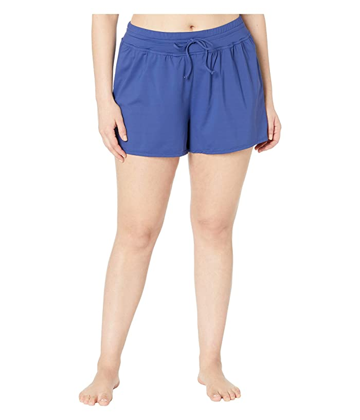 24th & Ocean Plus Size Solids Swim Shorts (Navy) Women