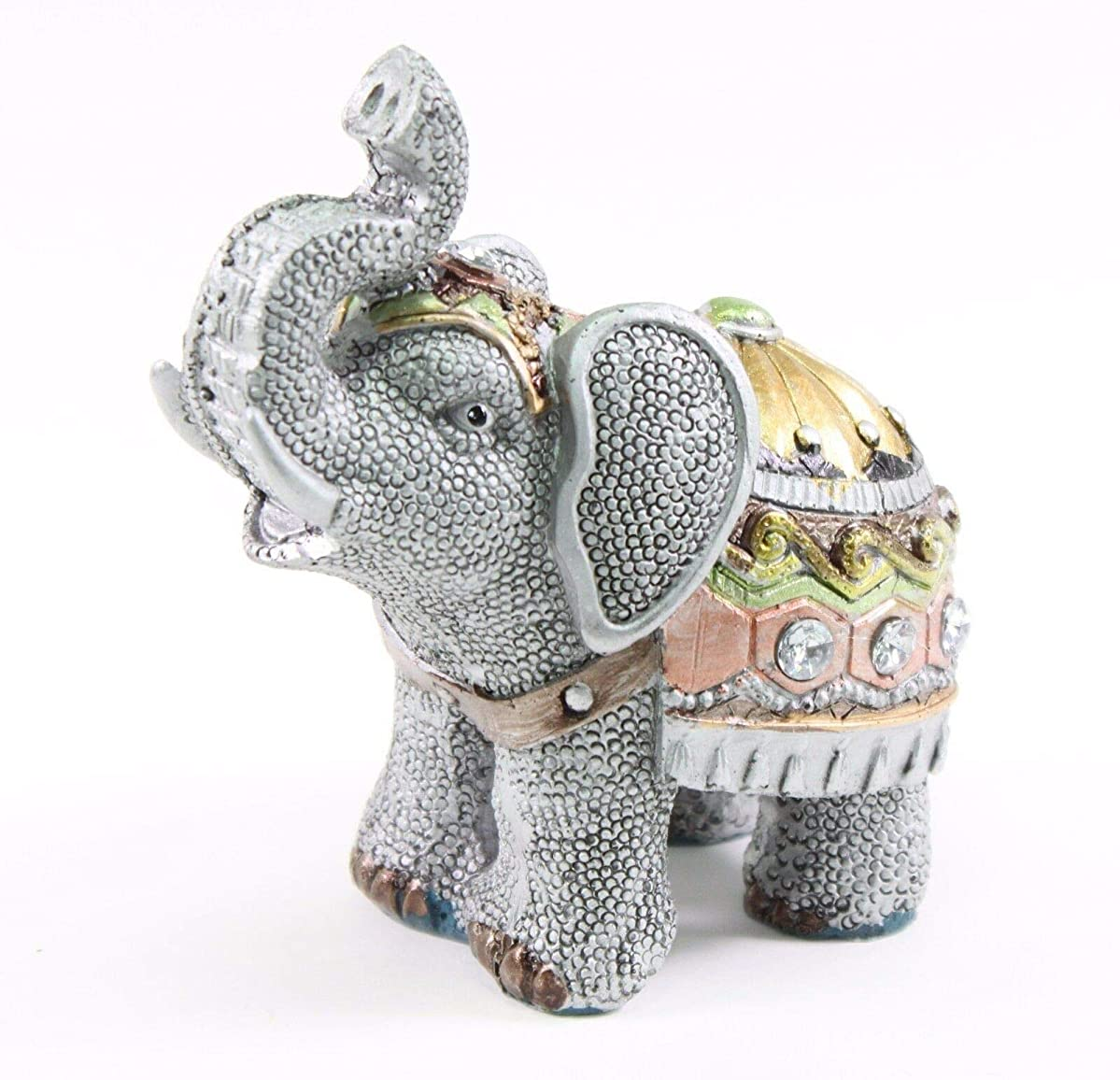 Feng Shui Elephant Trunk Statue Lucky Figurine Gift Home Decor Gray 4.5''