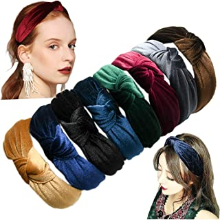 8 Pieces Solid Color Knoted Headbands Girls Velvet Knot Head Band Wide Vintage Twisted Headwear for Woman Hair Accessories